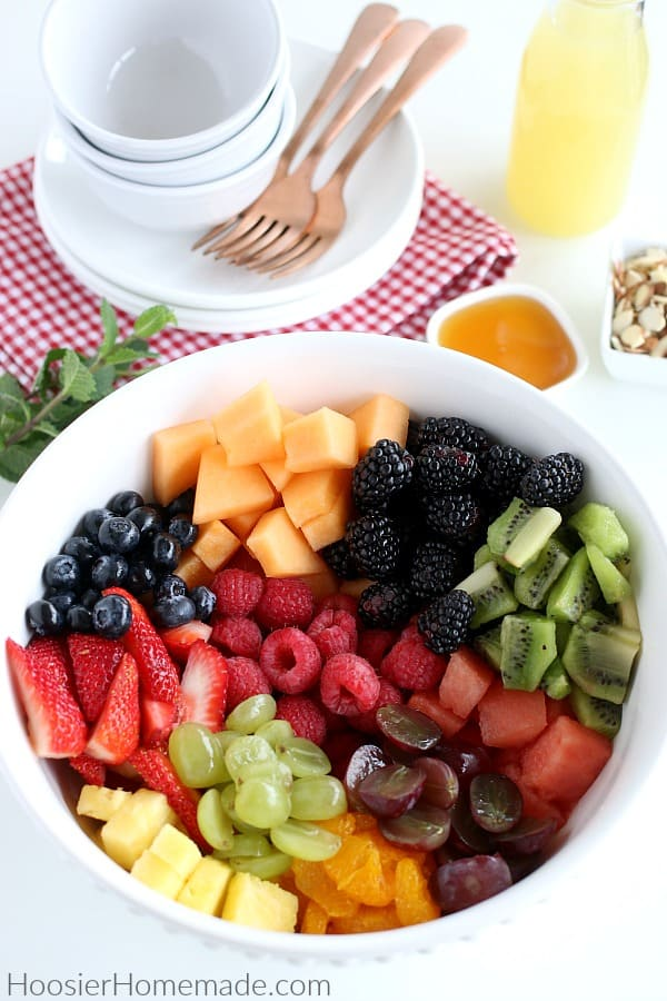 Fruit cut up in bowl