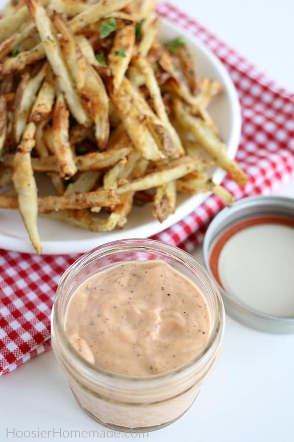Fry Sauce in small mason jar with french fries
