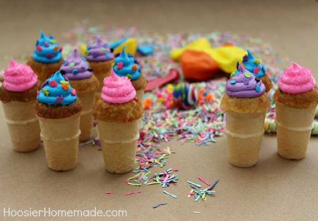 Mini Funfetti Birthday Cupcake Cones :: Recipe on HoosierHomemade.com