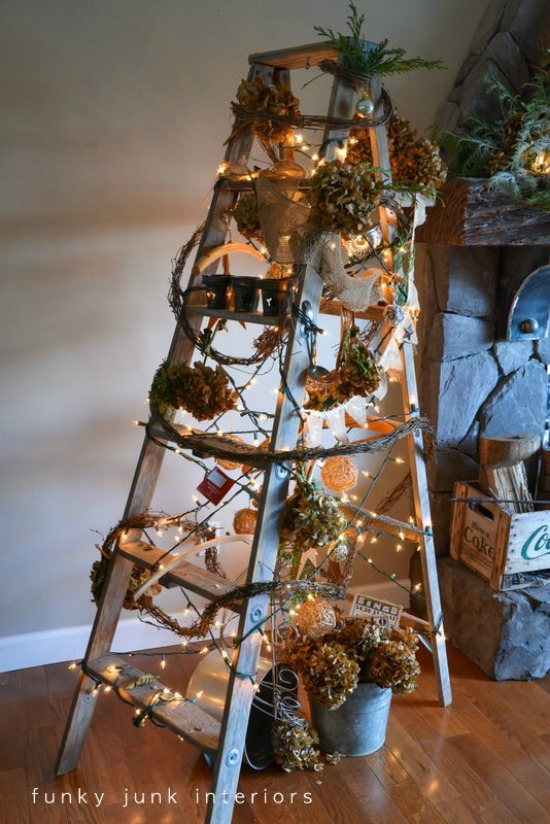 create this one of a kind christmas tree using a ladder and cool funky items