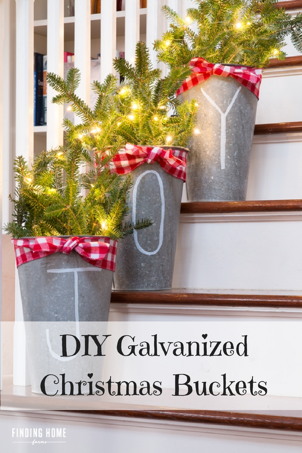 Galvanized Christmas Buckets - beautiful Christmas decor that can be used in any part of the house!