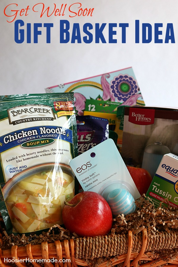 No matter what time of year it is, illness can hit and hit hard! This Get Well Gift Basket is sure to help! Add quick soup, medicine, juice and more to a basket for a neighbor, friend or family member.