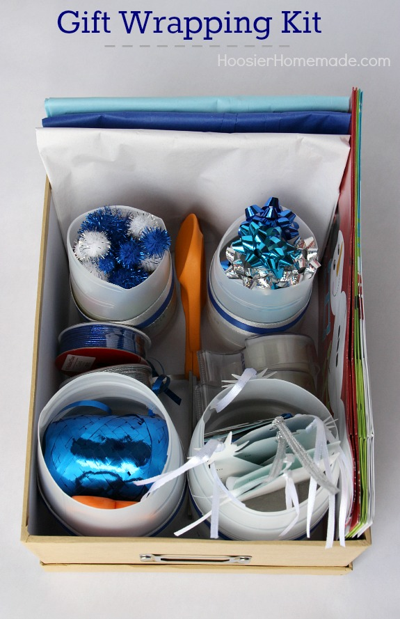 Don't spend valuable time searching for your gift wrapping supplies! Put together this Gift Wrapping Kit and have them all in one place! A great Christmas Gift too! Pin to your Craft Board!