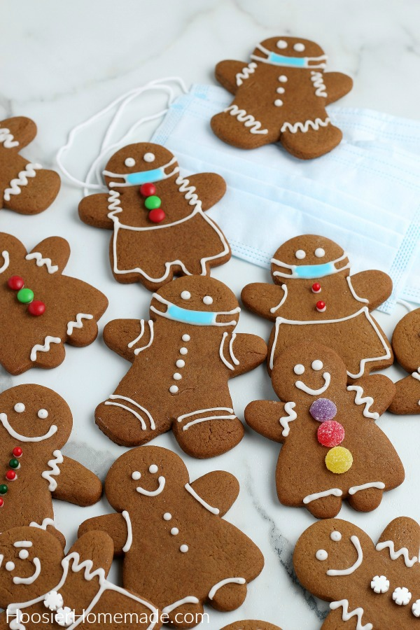 Gingerbread Cookies decorated with masks for COVID