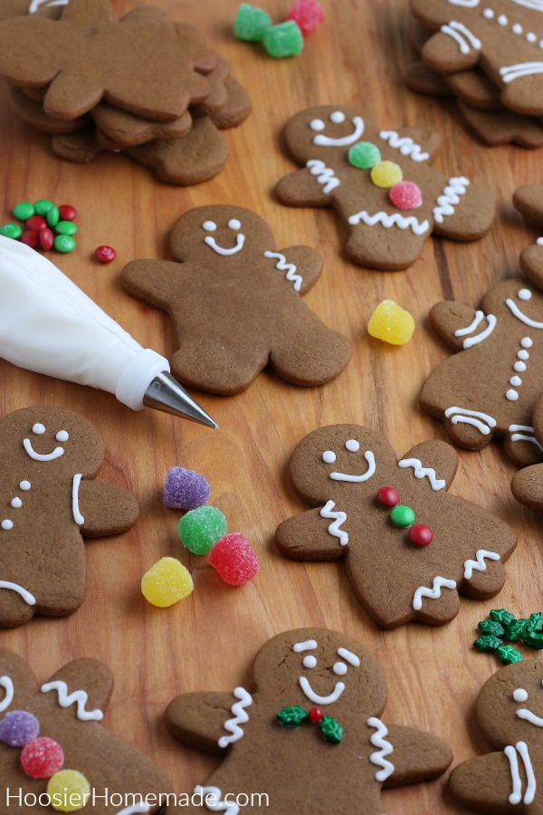 Gingerbread Cookies with white frosting ready to decorate