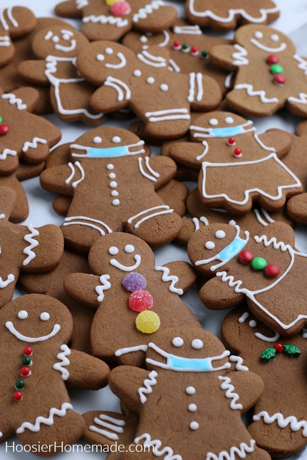 Gingerbread Cookies decorated with white frosting