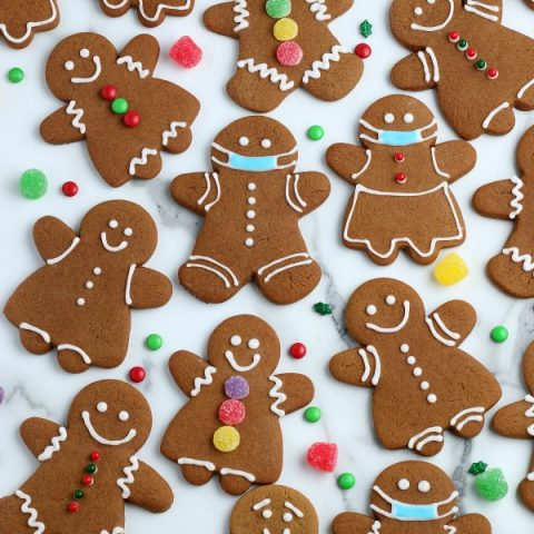 Gingerbread Cookies decorated with frosting and gumdrops