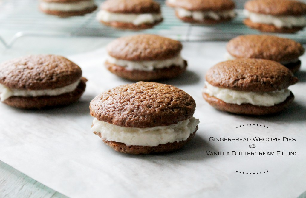 Gingerbread Whoopie Pies with Vanilla Buttercream Filling: 100 Days of Homemade Holiday Inspiration