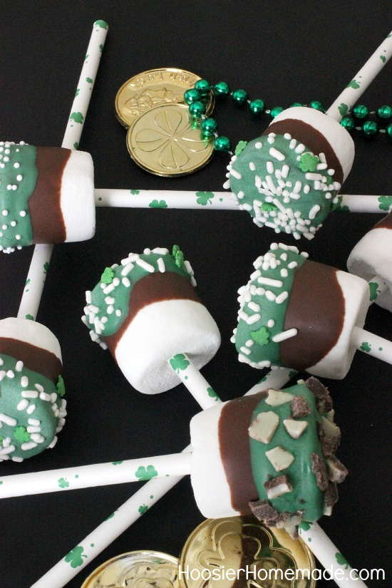 Grasshopper Marshmallow Pops