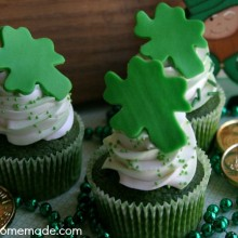 Green Velvet Cupcakes with Candy Shamrocks | Recipe on HoosierHomemade.com