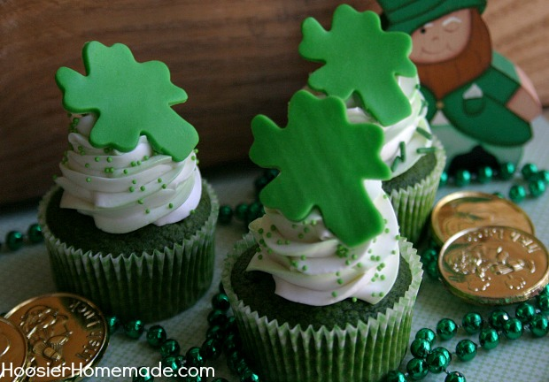 Green Velvet Cupcakes with Candy Shamrocks | Recipe on HoosierHomemade.com