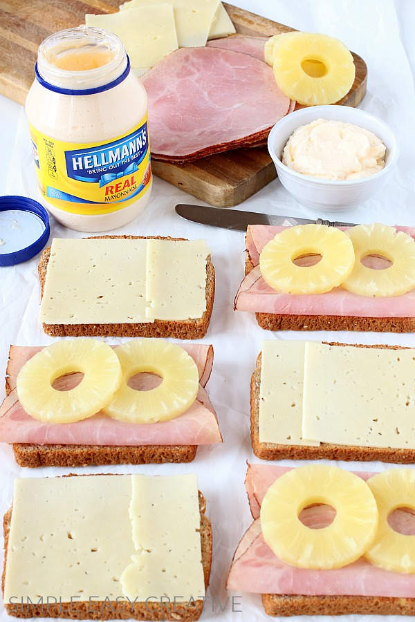 Assembling Grilled Cheese Recipe with Ham