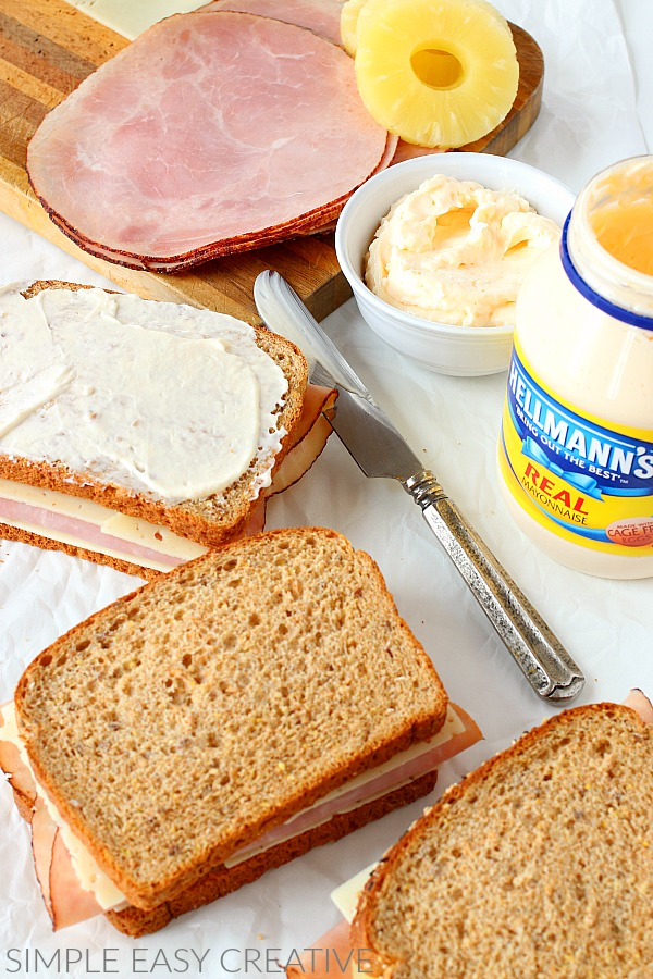 Add Hellmann's Mayonnaise to bread for Grilled Cheese Recipe