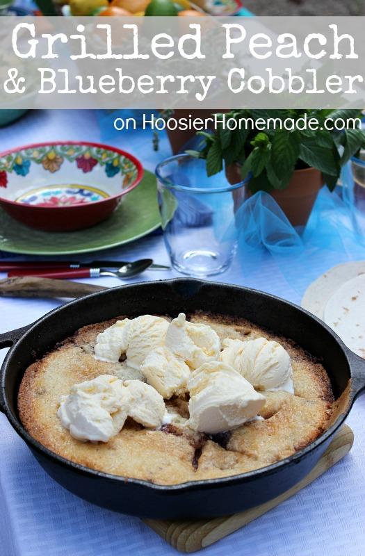 Grilled Peach & Blueberry Cobbler :: Recipe on HoosierHomemade.com