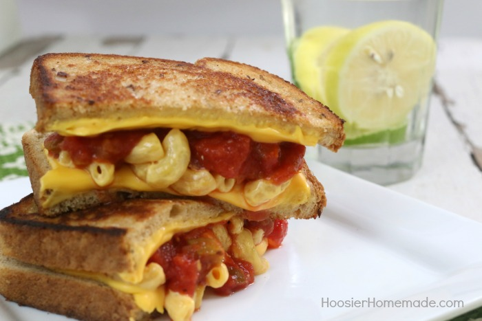 GRILLED MACARONI AND CHEESE FIESTA SANDWICH -- Take your ordinary grilled cheese up a notch! Add macaroni and cheese, salsa and a special ingredient to send it over the top!