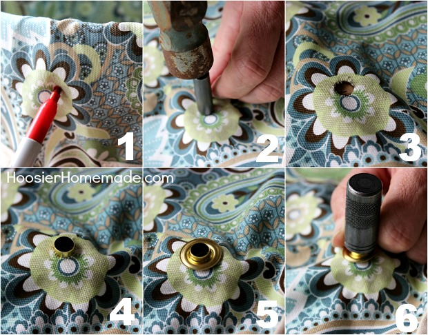 How to attach a Grommet to Fabric :: Full Instructions with photos on HoosierHomemade.com