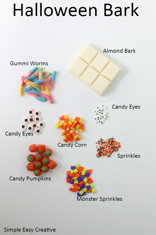 INGREDIENTS FOR HALLOWEEN CANDY BARK