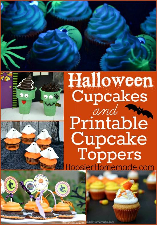 Halloween Cupcakes and Printable Cupcake Toppers:: on HoosierHomemade.com