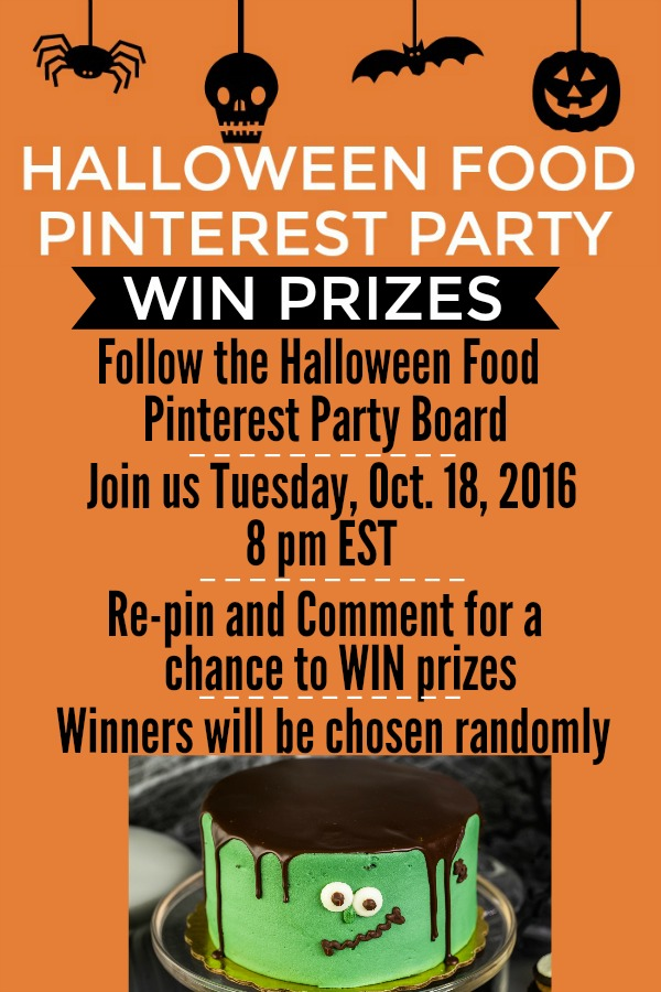 HALLOWEEN FOOD -- PINTEREST PARTY -- October 18th at 8 pm EST! Win PRIZES! Grab fun Halloween Recipes!