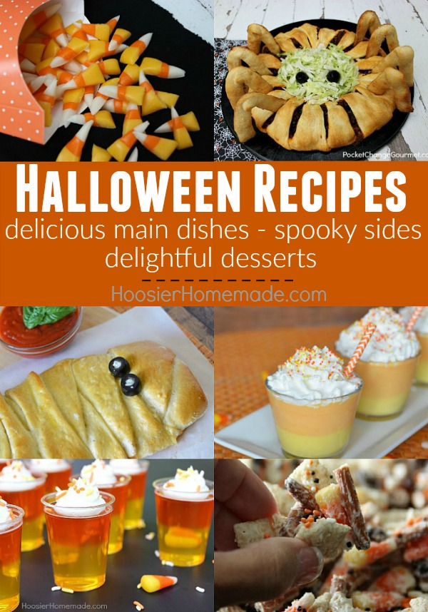 Whip up a FUN Halloween Dinner for your family! Grab a recipe to take to a Halloween Party! These Halloween Recipes include - main dishes, side dishes and Halloween Dessert Recipes!