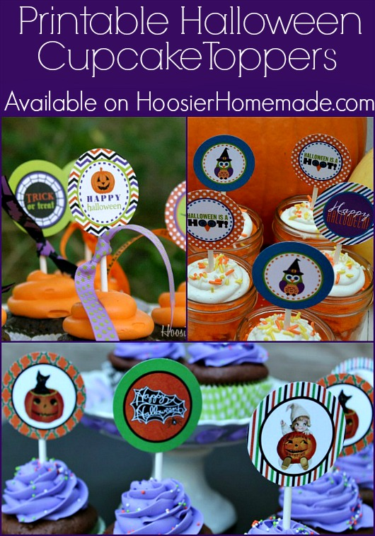 Free Printable Halloween Cupcake Toppers :: Available on HoosierHomemade.com