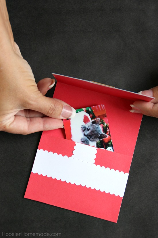 Make these Handmade Christmas Cards to hold gift cards or family photos. They are easy to make and go together in minutes! Pin to your Christmas Board!