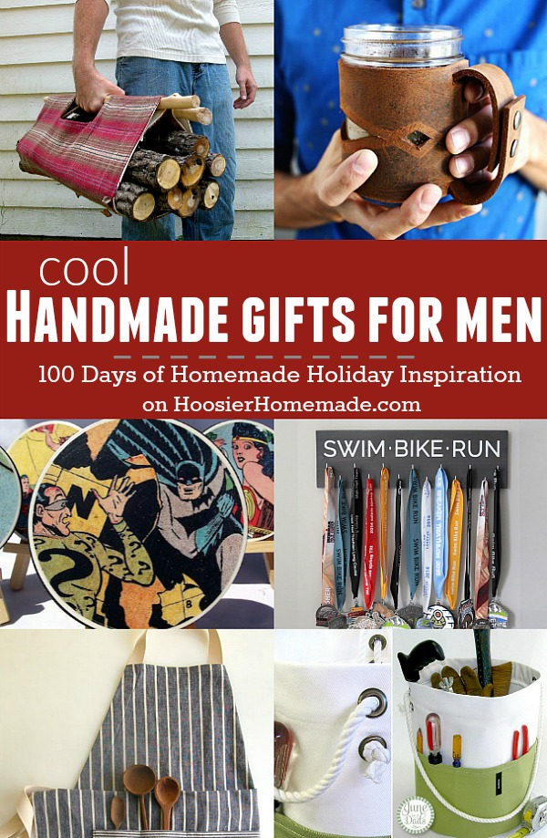 These cool Handmade Gifts for Men are sure to make him smile! They are easy too! Visit our 100 Days of Homemade Holiday Inspiration for more recipes, decorating ideas, crafts, homemade gift ideas and much more!