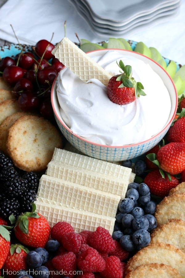 Sugar Free Cookie and Strawberry in Healthy Fruit Dip