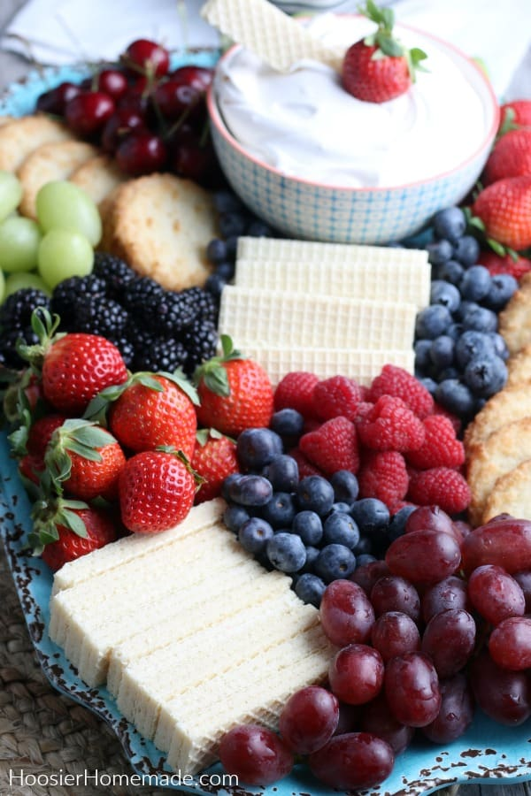 Healthy Fruit Dip with fruit and sugar free cookies