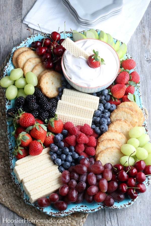 Fruit and Cookie Board with Healthy Fruit Dip