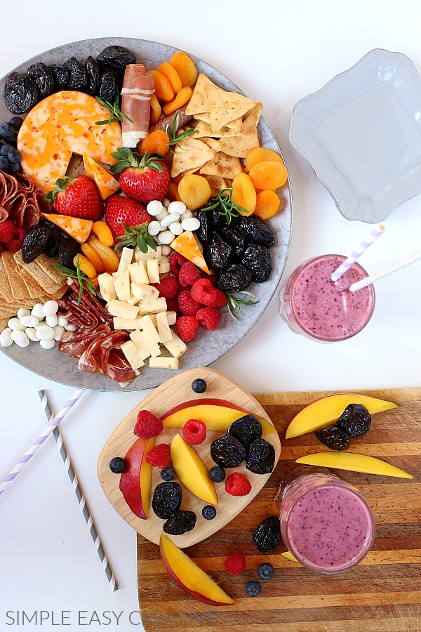 Charcuterie Board with Healthy Smoothies