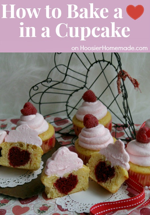 How to Bake a Heart in a Cupcake | Recipe & Instructions on HoosierHomemade.com