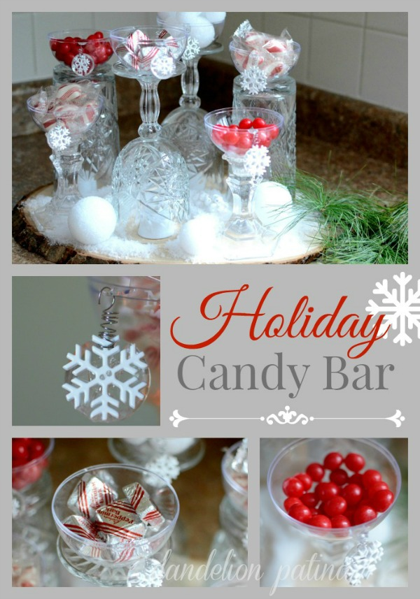 Create this beautiful and EASY Candy Bar for the Holidays with just a few simple supplies and - of course - CANDY! Visit our 100 Days of Homemade Holiday Inspiration for more recipes, decorating ideas, crafts, homemade gift ideas and much more!