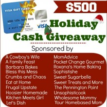 $500 Holiday Cash Giveaway on HoosierHomemade.com