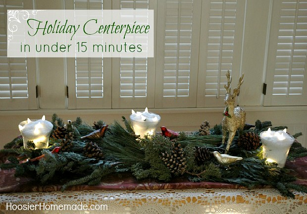 Quick & Easy Holiday Centerpiece on HoosierHomemade.com