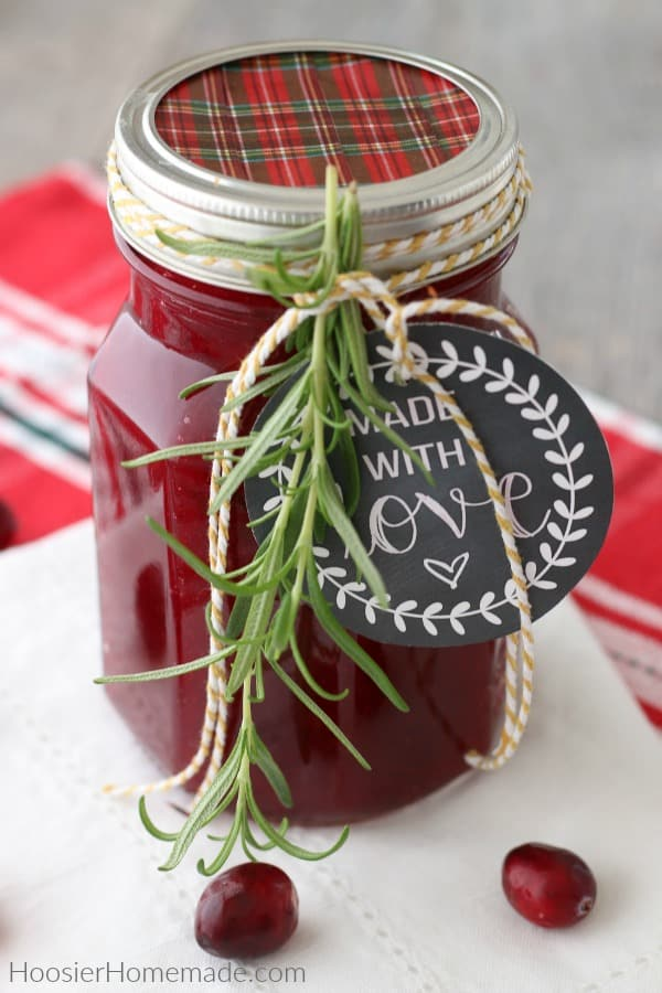 Homemade Cranberry Sauce in jar for gift