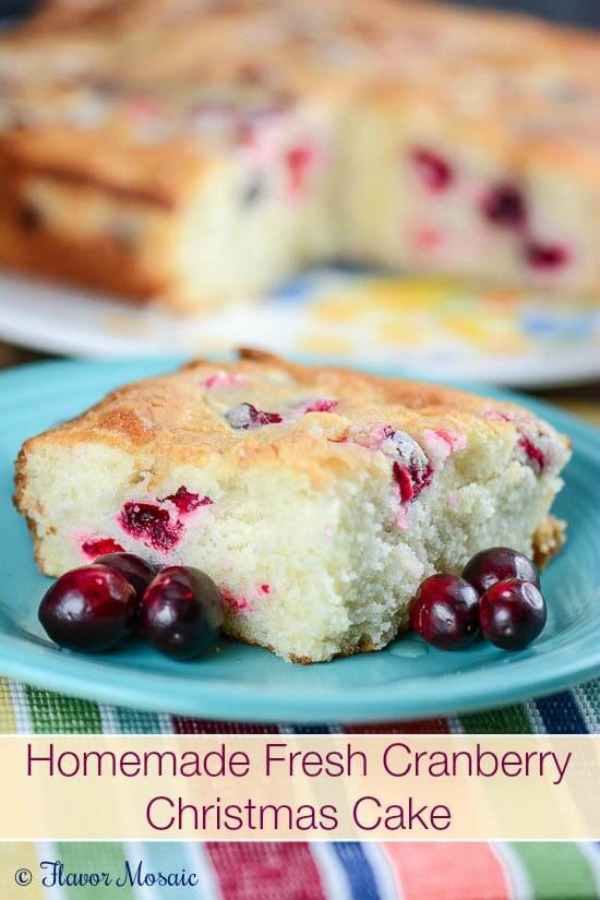 This moist white cake with fresh cranberries and orange zest is perfect for the holidays! Whip up this Homemade Cranberry Cake for your Christmas Dinner! Visit our 100 Days of Homemade Holiday Inspiration for more recipes, decorating ideas, crafts, homemade gift ideas and much more!