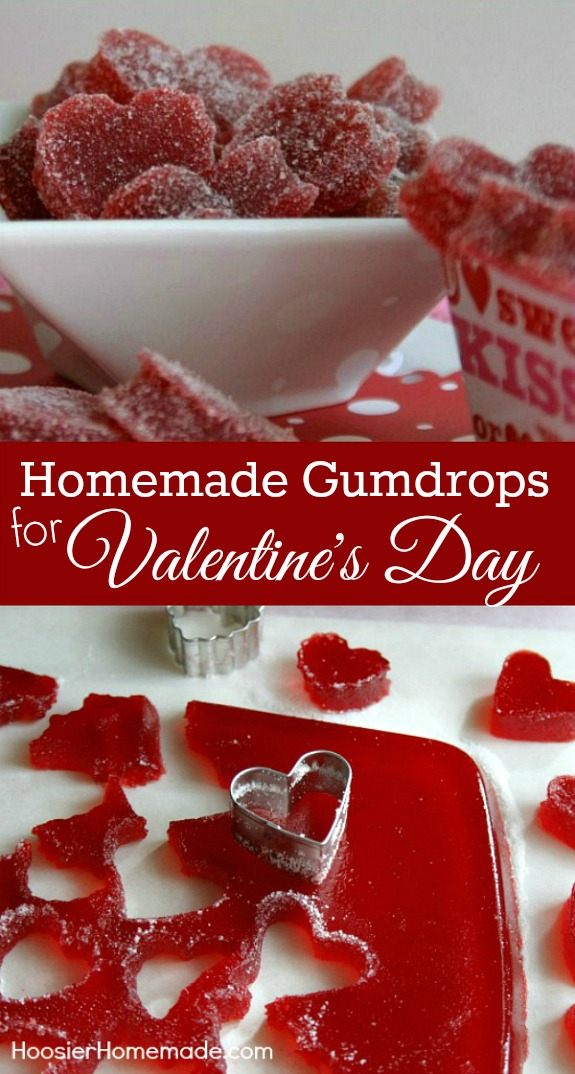 These Homemade Gumdrops are perfect for Valentine's Day Treats! They are easy to make with just a few ingredients. Pin to your Recipe Board!