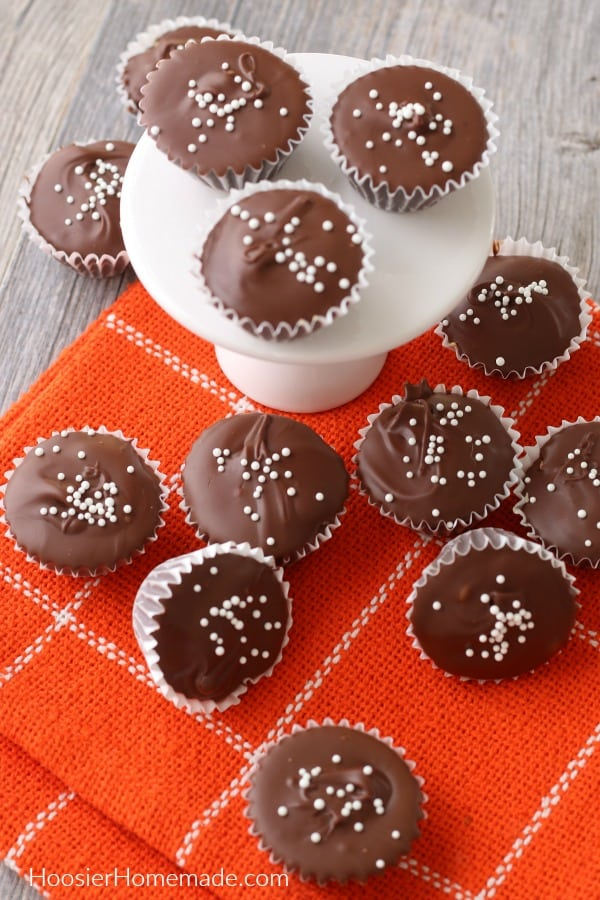 Homemade Peanut Butter Cups on orange towel