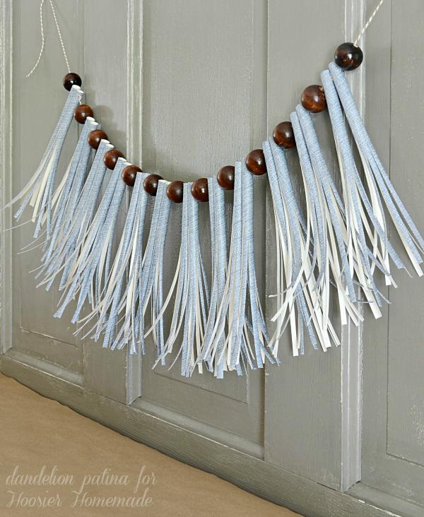 paper straw tassel garland in denim by dandelion patina