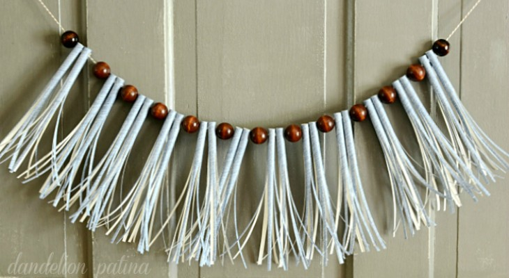 Hoosier Homemade paper straw tassel garland with wooden beads