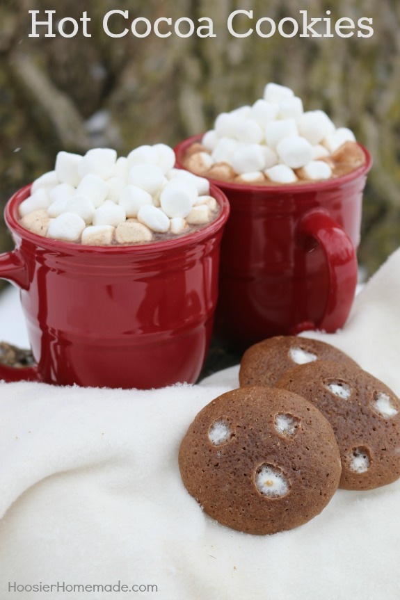 Hot Cocoa Cookies - soft chocolate cookies topped with marshmallows go perfectly with a mug of hot cocoa! Pin to your Recipe Board!