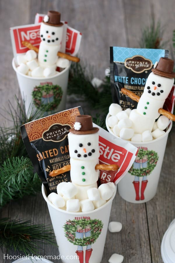 Hot Cocoa To Go Cup with Marshmallow Snowman