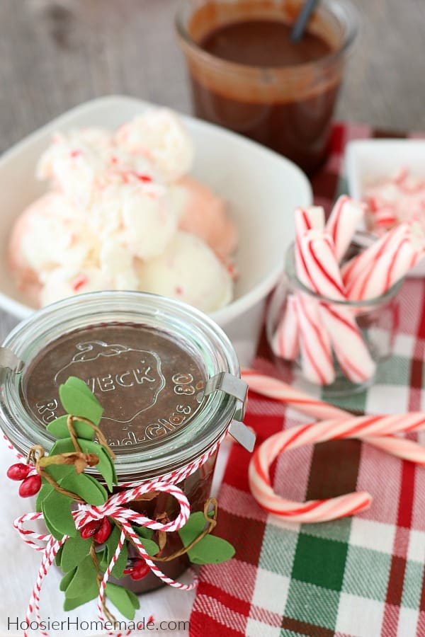 Hot Fudge Recipe in jar decorated for Christmas gift