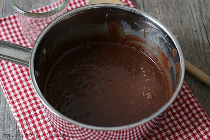 Hot Fudge Recipe cooked in a saucepan