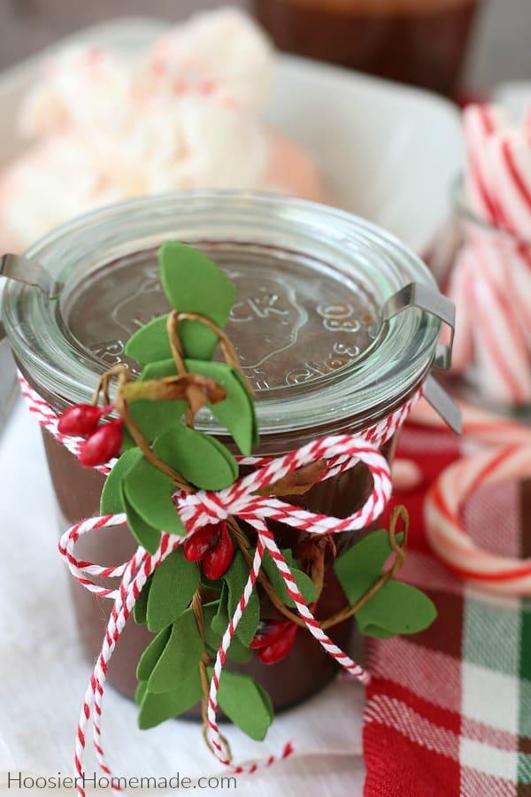 Hot Fudge Recipe in jar for Christmas Gift