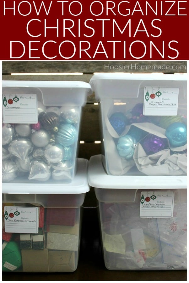 Christmas Decorations organized in boxes