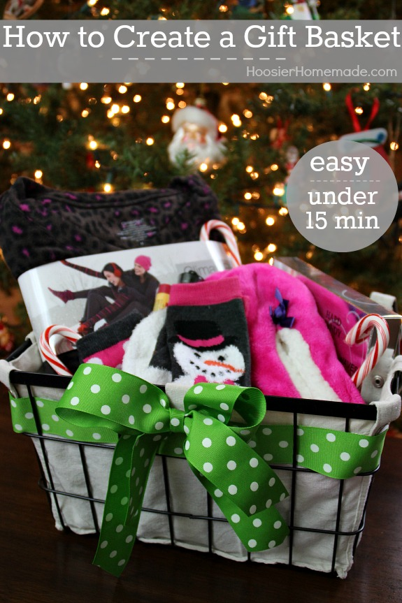 Take gift giving to the next level! Learn How to Create a Gift Basket in minutes! Pin to your DIY Board!