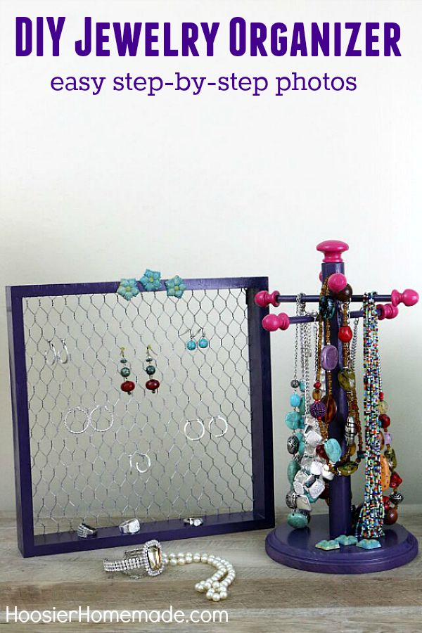 Get those necklaces, bracelets and earrings off your dresser and organized once and for all! This easy DIY Jewelry Organizer will solve your problems and help you find what you are looking for! Visit our 100 Days of Homemade Holiday Inspiration for more recipes, decorating ideas, crafts, homemade gift ideas and much more!