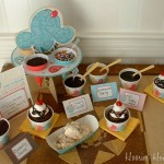 Ice Cream Party Tented Label Cards - Blank